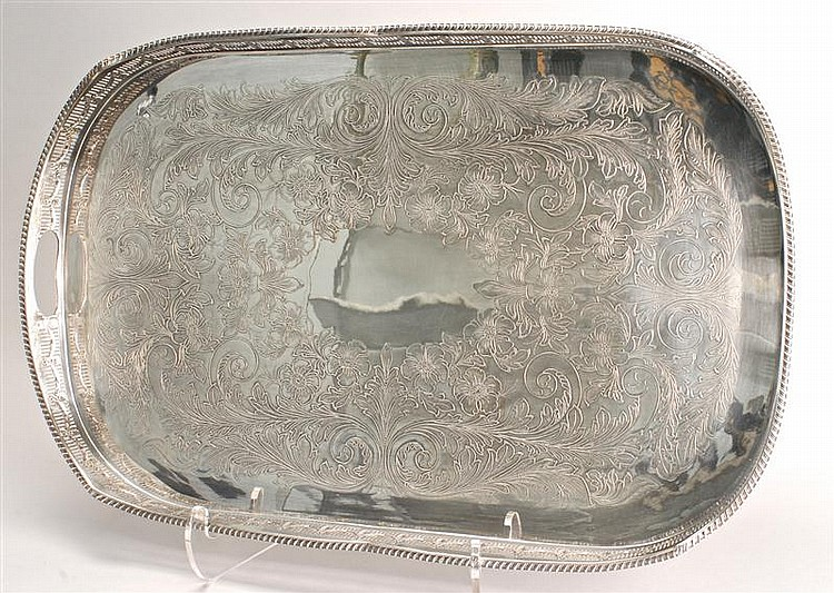 ENGLISH SILVER PLATED GALLERIED-EDGE TRAY marked