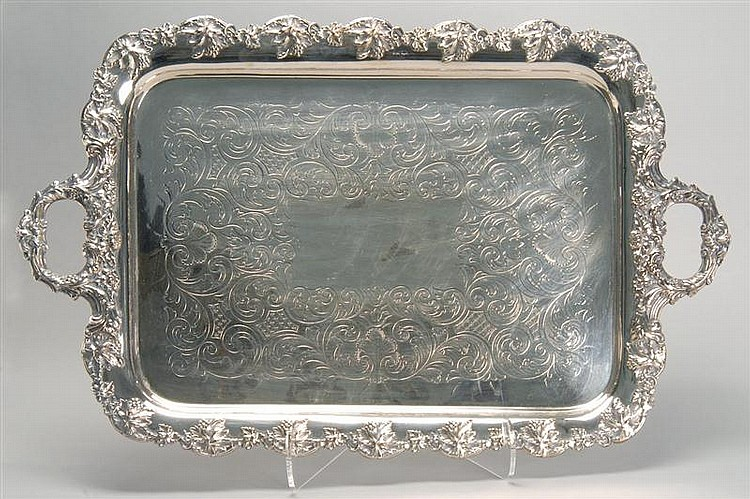SILVER PLATED WAITER in rectangular form with foliate design and grape leaf border. Length 29½