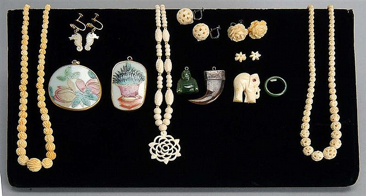 LOT OF ASIAN JEWELRY. Including three carved ivory necklaces, two pairs of ivory earrings, a pair of mother-of-pearl earrings, five...