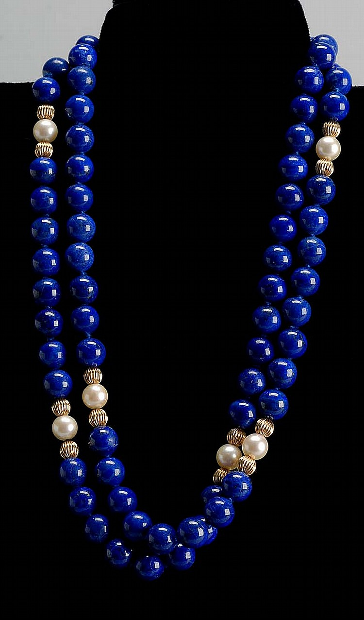LAPIS, PEARL, AND GOLD BEAD NECKLACE. Beads and mount in 14kt yellow gold. Length 30