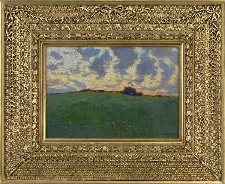 ARTHUR WESLEY DOW, American, 1857-1922, Sunset landscape., Oil on canvas board, 14