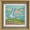 SHARON BOWAR, Pennsylvania, Contemporary, Looking down on the farmlands., Oil on masonite, 11