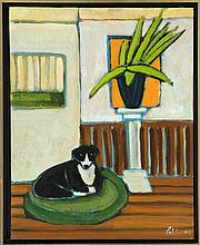 NICOLETTA POLI, American, Contemporary, Interior scene with black and white dog., Oil on canvas, 19.5