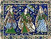 QAJAR TILE Depicts three women in an exterior setting surrounded by a floral border. 11½