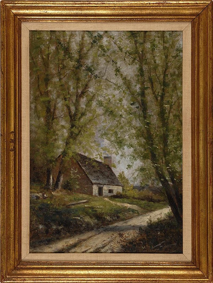 FRAMED PAINTING: WILLIAM HENRY HILLARD (American, 1863-1905). House along a wooded path. Signed lower left