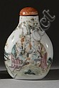 PORCELAIN SNUFF BOTTLE In pear shape with decoration of sages in a landscape. Height 2½
