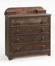 VICTORIAN COTTAGE BUREAU In pine. Top and drawer fronts with faux grain painting surrounded by dark brown paint. Brass and turned wo...