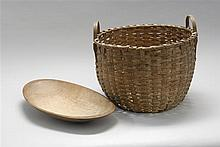 SPLINTWORK HANDLED BASKET Together with a burled wood trencher, length 17
