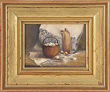 FRAMED PAINTING Still life of a basket of eggs and stoneware jug. Signed lower left