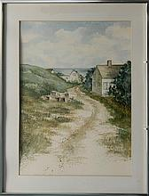FRAMED WATERCOLOR By Rita Bernier. Depicts coastal Maine beach houses. Signed lower right