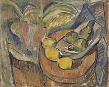 AMERICAN SCHOOL, 20th Century, Cézanne-style still life of fruit., Oil on canvas, 16