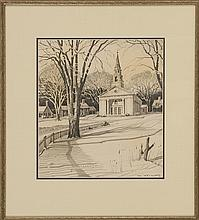 TED KAUTZKY, American/Hungarian, 1896-1953, A New England church., Pencil on paper, 12.75