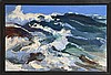 MICHAEL LEMMERMEYER, American, 1891-1970, Seascape with crashing waves., Oil on canvas, 24