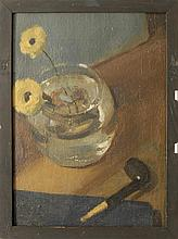 SCHOOL OF CHARLES HAWTHORNE, American, First Half of the 20th Century, Still life of a pipe and two flowers in a clear glass vase.,...