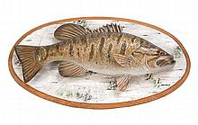 CONTEMPORARY LIFE-SIZE WOODEN CARVING OF A SMALL MOUTH BASS By Dean Steffen. Mounted on a oval backboard painted to simulate birch w...