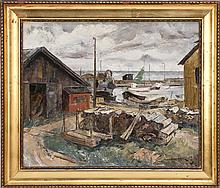 HANS ALEXANDER MILLER, American, 20th Century, Boats in a harbor., Oil on canvas, 18
