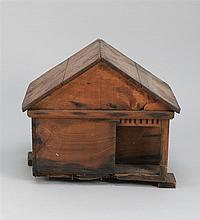 PRIMITIVE MODEL OF A SOUTHERN HOUSE In pine under an old brown finish. Height 16