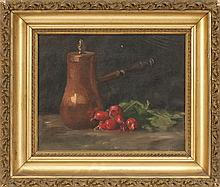 AMERICAN SCHOOL, Early 20th Century, Still life of a copper pot and beets., Oil on canvas, 10