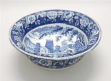 BLUE AND WHITE STAFFORDSHIRE WASHBOWL With rural landscape design. Diameter 13