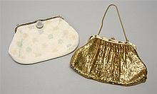 TWO EVENING BAGS A Whiting and Davis gold mesh bag with gold snake handle, and a white beaded bag with floral design, button-style c...