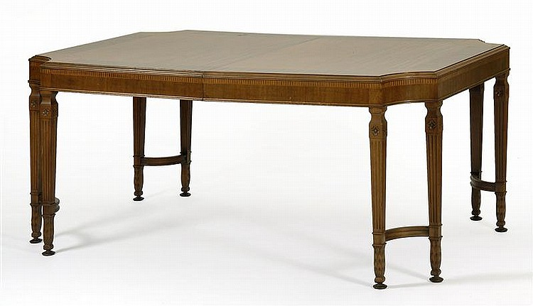 ADAM-STYLE DINING TABLE Cut-cornered top features select veneers of varied woods and inlays. Tapered fluted legs with carved rosette...