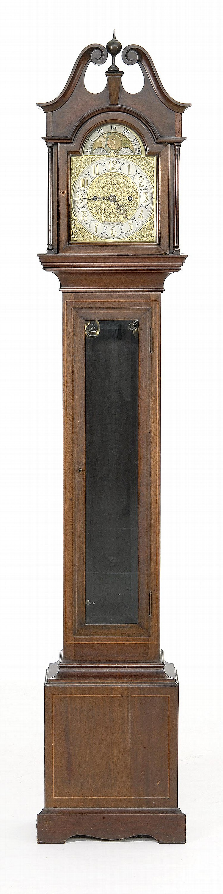 DIMINUTIVE TALL-CASE CLOCK Made for J.E. Caldwell & Co. Mahogany case with string inlay. Bonnet with broken arch pediment and centra...