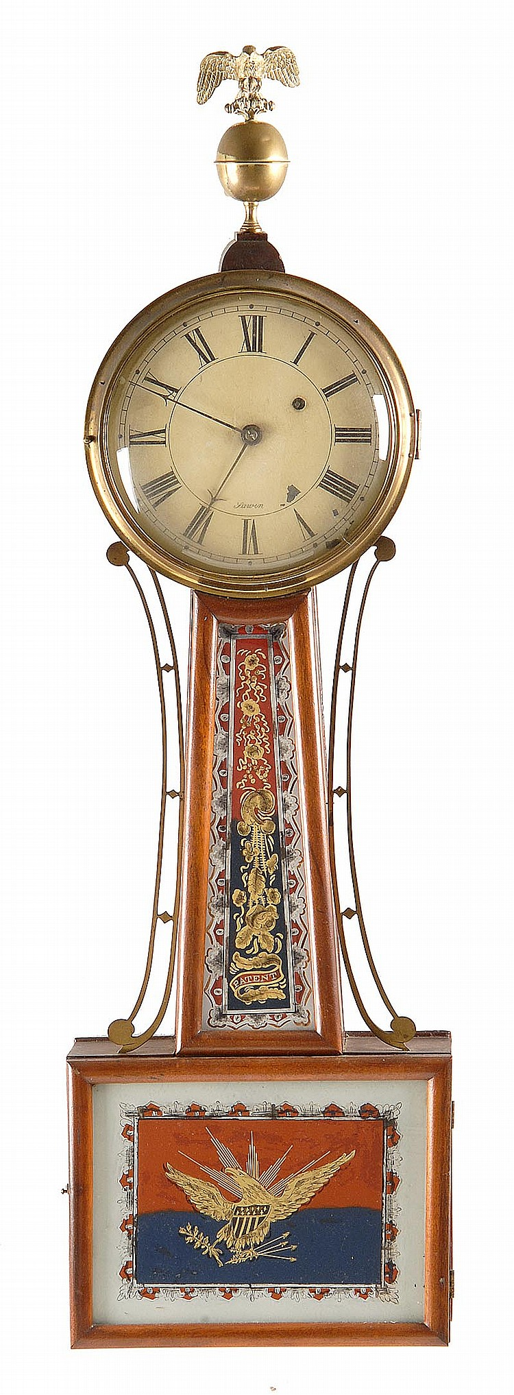 ANTIQUE AMERICAN BANJO CLOCK By John Sawin. Mahogany case with eagle finial. Reverse painted throat and door glass. Door glass depic...