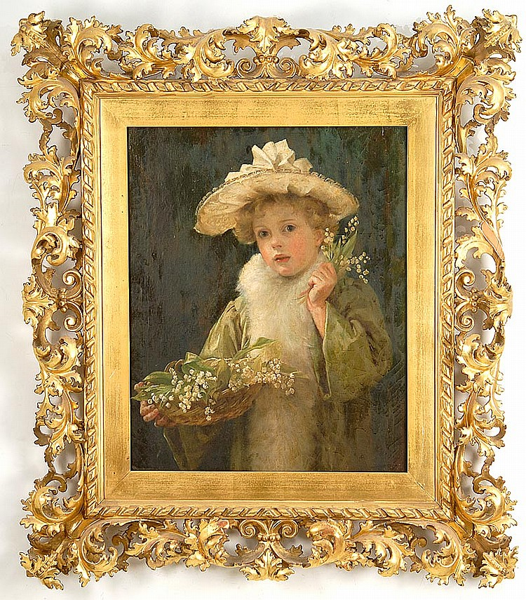 FLORENCE REASON, English, Active 1883-1903, A young girl with a basket of wild flowers., Oil on canvas, 27½