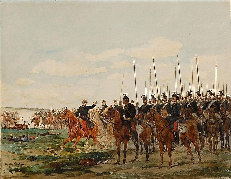EDOUARD JEAN BAPTISTE DETAILLE, French, 1848-1912, Battle scene., Watercolor on paper, 8½