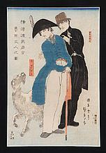 UTAGAWA SADAHIDE From Foreigners Drawn from Life, depicting two Russians and a white goat. Framed.