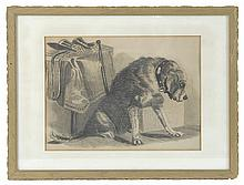 FRAMED PAINTING Portrait of a dog next to a riding crop and gloves. Inscribed verso: