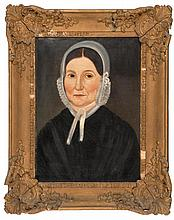 PRIOR-HAMBLIN SCHOOL, Mid-19th Century, Portrait of a woman in a white lace bonnet., Oil on cardboard, 16.5