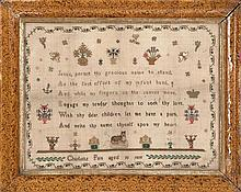 FRAMED ENGLISH NEEDLEWORK SAMPLER Wrought by