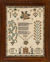 FRAMED ANTIQUE AMERICAN NEEDLEWORK
