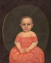 PRIMITIVE PORTRAIT A child wearing a salmon-colored dress. Unsigned. Oil on canvas, 27.5