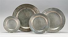 FOUR LONDON PEWTER PLAIN-RIMMED CHARGERS By John Townsend, Townsend & Griffen, Samuel Ellis and Richard Yates. Diameters from 9.75