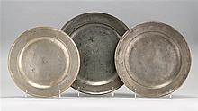 THREE LONDON PEWTER SINGLE REEDED CHARGERS By John Shorey, Samuel Ellis and Richard King. Diameters from 15
