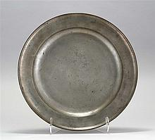 LARGE LONDON PEWTER SINGLE REEDED CHARGER By Samuel Ellis. Ownership engraving to front rim. Diameter 20.1