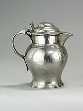 ENGLISH PEWTER LIDDED ALE PITCHER One quart capacity. Engraved monogram under spout and