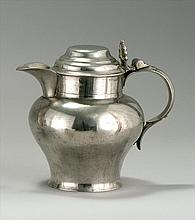 LONDON PEWTER LIDDED ALE PITCHER By Watts and Harton. Two-quart capacity. Height 8.5
