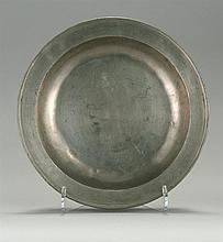 LONDON PEWTER SINGLE REEDED DEEP DISH By Joseph Spackman, circa 1770-1785. Height 2