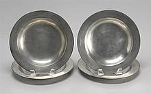 MATCHING SET OF FOUR SCOTTISH PEWTER PLATES By William Scott of Edinburgh. With plain rims and deep bowls. Diameters 9.5