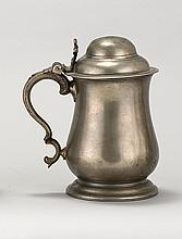 BRISTOL PEWTER QUART TANKARD By Thomas Willshire, circa 1780-1795. Tulip-form body with inscription at drum. Height 7.5