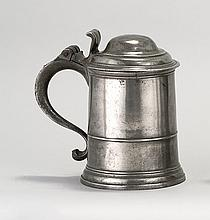 LONDON PEWTER QUART TANKARD By Philip Matthew, circa 1740-1755. Straight-sided body. Bears touchmark inside the base and verificatio...
