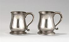 TWO LONDON PEWTER PINT MUGS One unmarked. Other by Samuel Ellis with his touchmarks and crowned