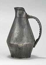 AMERICAN PEWTER CIDER PITCHER By John Burt of Boston. Maker's mark at edge of base. Height 13
