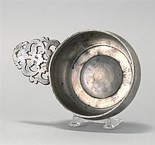 AMERICAN PEWTER PORRINGER Attributed to Rhode Island. Ownership initials