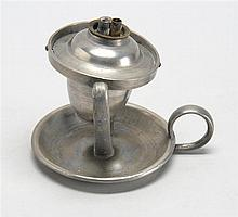 AMERICAN PEWTER DOUBLE GIMBALED WHALE OIL LAMP With twin burner. Height 4