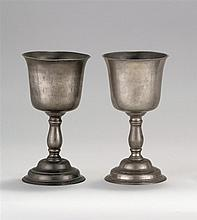 PAIR OF SCOTTISH PEWTER CHALICES OR COMMUNION CUPS Unmarked but the style of foot, stem and bowl indicate they are circa 1770-1790....