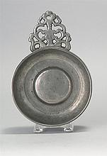 AMERICAN PEWTER PORRINGER By Samuel Hamlin of Providence, Rhode Island (1801-1856). Ownership initials